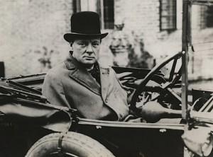 Churchill at the wheel.