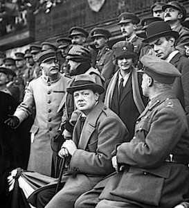 Winston Churchill watching 47th Division at Lille, France