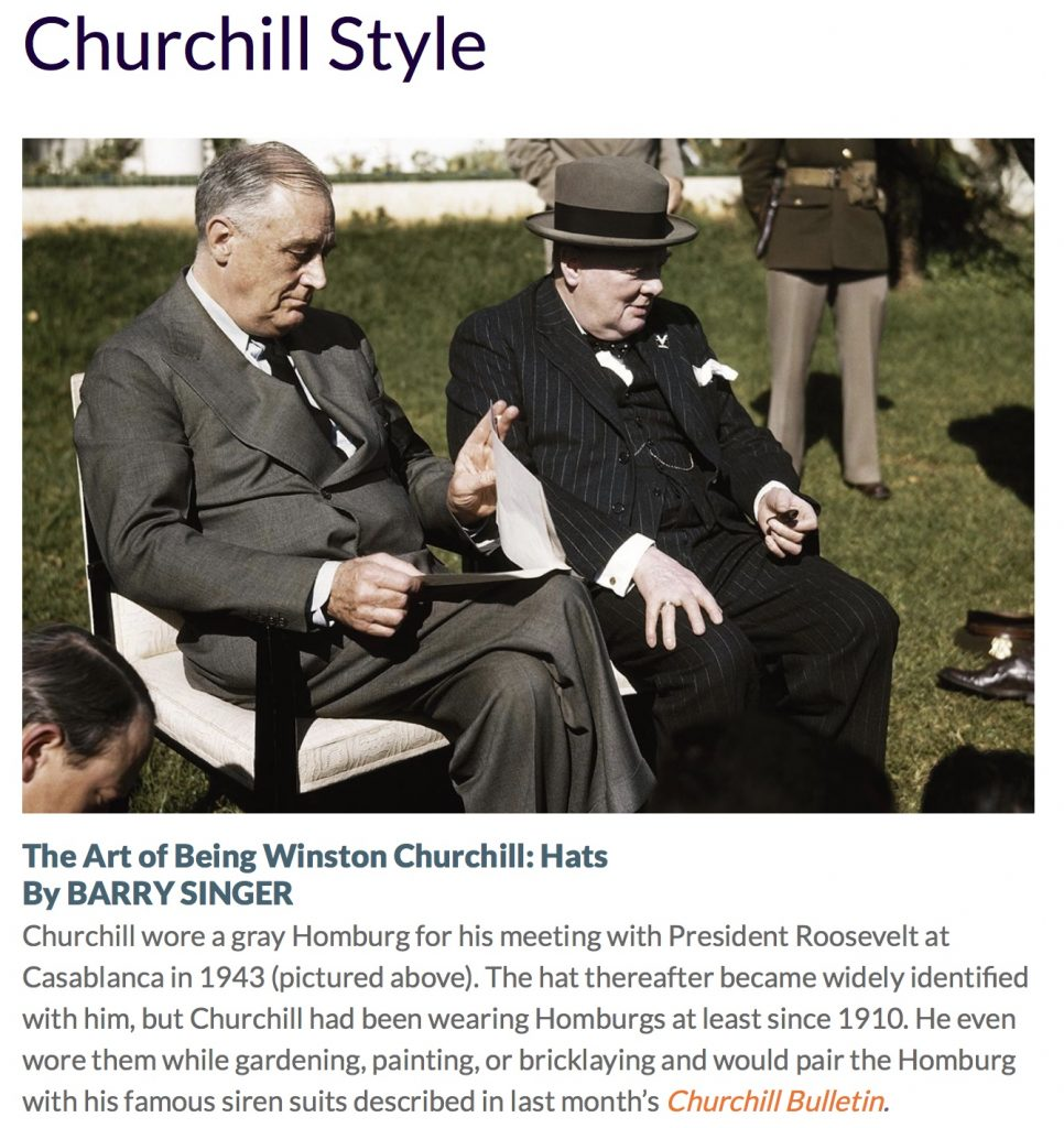 WINSTON CHURCHILL & HATS: Churchill Style in The ...